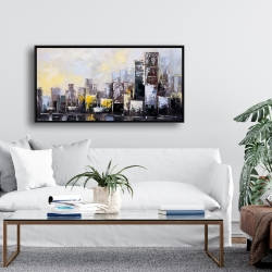 Framed 24 x 48 - Abstract city in the morning