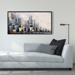Framed 24 x 48 - Abstract cityscape in the morning