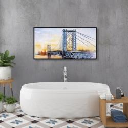 Framed 24 x 48 - Abstract brooklyn bridge
