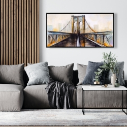 Framed 24 x 48 - Colorful brooklyn bridge