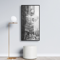 Framed 24 x 48 - Morning in the streets of new-york city monochrome