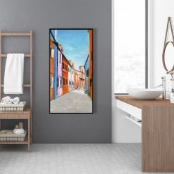 Framed 24 x 48 - Colorful houses in italy