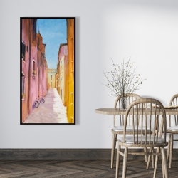 Framed 24 x 48 - Colorful houses in the streets of collioure