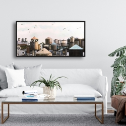 Framed 24 x 48 - Water towers with birds
