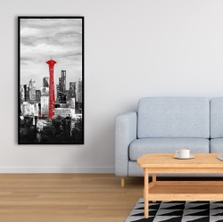 Framed 24 x 48 - Space needle in red
