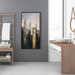 Framed 24 x 48 - Abstract gold skyscraper