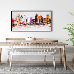 Framed 24 x 48 - Abstract city in bright colors