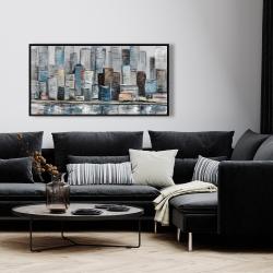 Framed 24 x 48 - Abstract urban skyline