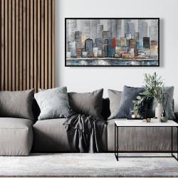 Framed 24 x 48 - Abstract city skyline
