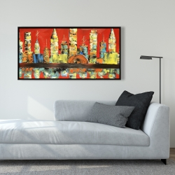 Framed 24 x 48 - Red abstract skyline