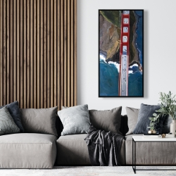 Framed 24 x 48 - Overhead view of the golden gate and mountains