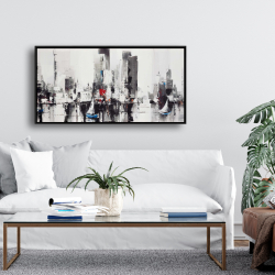 Framed 24 x 48 - Abstract boats with cityscape