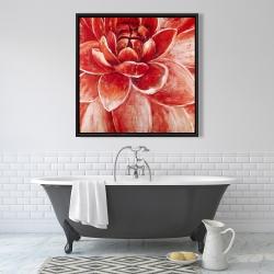 Framed 36 x 36 - Red chrysanthemum