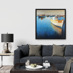 Framed 36 x 36 - Fishing boats at the marina