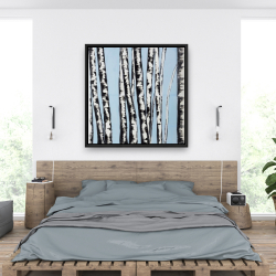 Framed 36 x 36 - Pastel birches