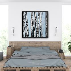 Framed 36 x 36 - Pastel birches