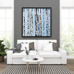Framed 36 x 36 - Birches on a blue background