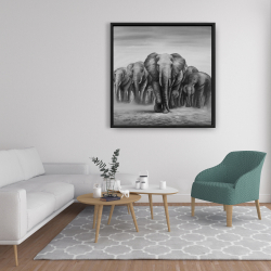 Framed 36 x 36 - Herd of elephants