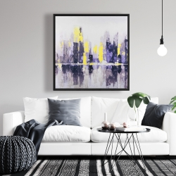 Framed 36 x 36 - Abstract and blurry cityscape