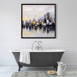 Framed 36 x 36 - Abstract city in the morning