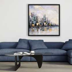 Framed 36 x 36 - Abstract cityscape in the morning