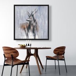 Framed 36 x 36 - Deer in the forest by a rainy day