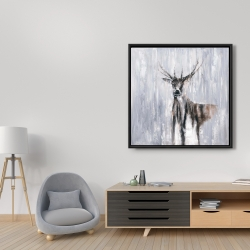 Framed 36 x 36 - Winter abstract deer