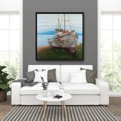 Framed 36 x 36 - Old abandoned boat