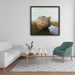 Framed 36 x 36 - Old abandoned boat in a swamp