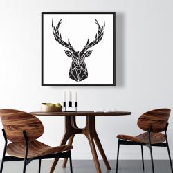 Framed 36 x 36 - Geometric deer head