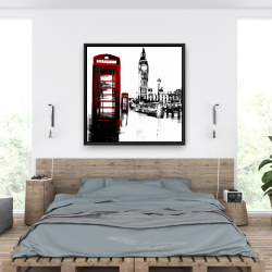 Framed 36 x 36 - Telephone box and big ben of london