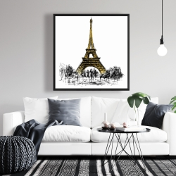 Framed 36 x 36 - Outline of eiffel tour