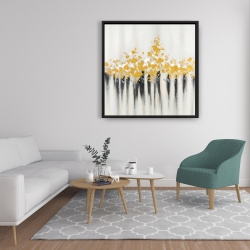 Framed 36 x 36 - Abstract gold flowers