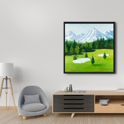 Framed 36 x 36 - Golf course with mountains view