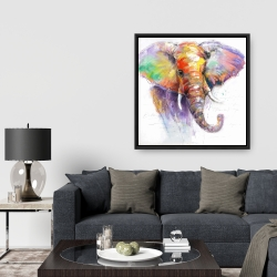 Framed 36 x 36 - Beautiful and colorful elephant