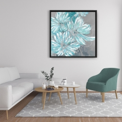 Framed 36 x 36 - Three little abstract blue flowers