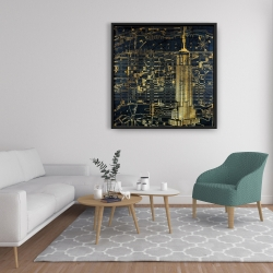 Framed 36 x 36 - Gold city blue print