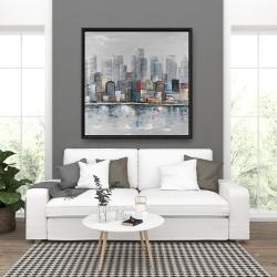 Framed 36 x 36 - Abstract city skyline