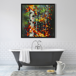 Framed 36 x 36 - Colorful dotted leaves birches