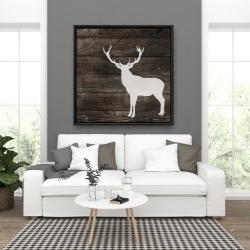 Framed 36 x 36 - Deer silhouette on wood