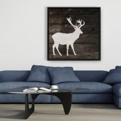 Framed 36 x 36 - Deer on wood background
