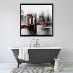 Framed 36 x 36 - Abstract and red brooklyn bridge