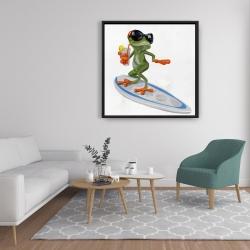 Framed 36 x 36 - Funny frog surfing