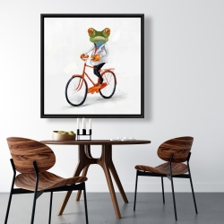 Framed 36 x 36 - Funny frog riding a bike