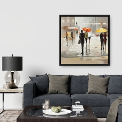 Framed 36 x 36 - Abstract passersby with umbrellas