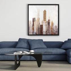 Framed 36 x 36 - Abstract earthy tones city