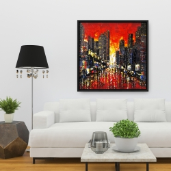 Framed 36 x 36 - Abstract sunset on the city