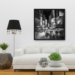 Framed 36 x 36 - Gray busy city by night