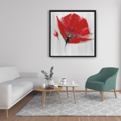 Framed 36 x 36 - Two red flowers on gray background