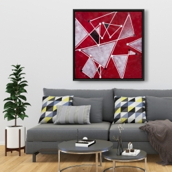 Framed 36 x 36 - White triangles on red background
